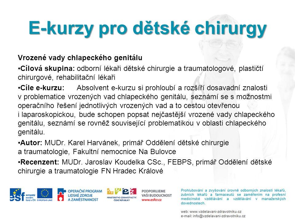 E-kurzy pro dětské chirurgy