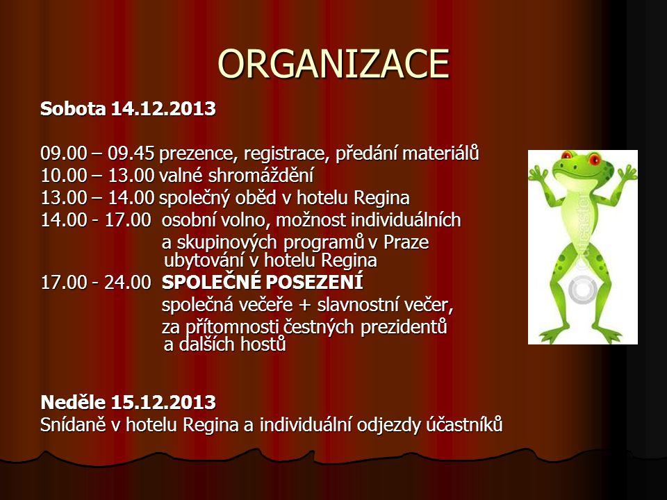 ORGANIZACE Sobota 14.12.2013. 09.00 – 09.45 prezence, registrace, předání materiálů. 10.00 – 13.00 valné shromáždění.