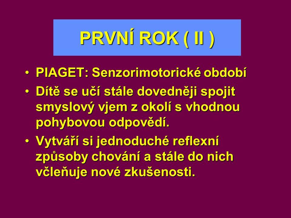 PRVNÍ ROK ( II ) PIAGET: Senzorimotorické období