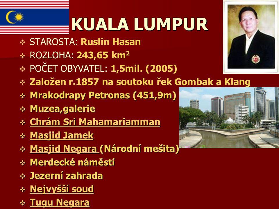 KUALA LUMPUR STAROSTA: Ruslin Hasan ROZLOHA: 243,65 km2