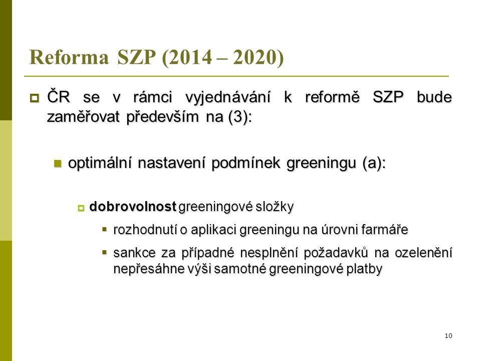 Reforma SZP (2014 – 2020) ČR se v rámci vyjednávání k reformě SZP bude zaměřovat především na (3): optimální nastavení podmínek greeningu (a):