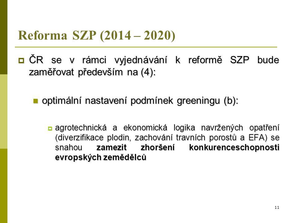 Reforma SZP (2014 – 2020) ČR se v rámci vyjednávání k reformě SZP bude zaměřovat především na (4): optimální nastavení podmínek greeningu (b):