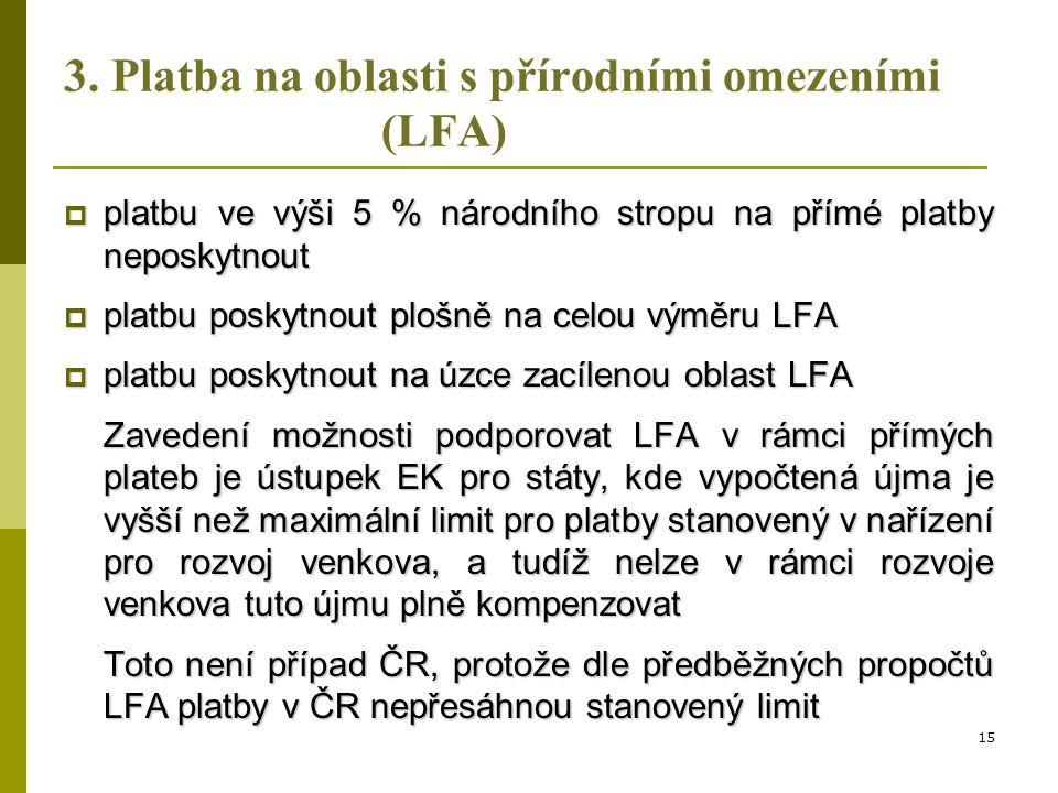 3. Platba na oblasti s přírodními omezeními (LFA)