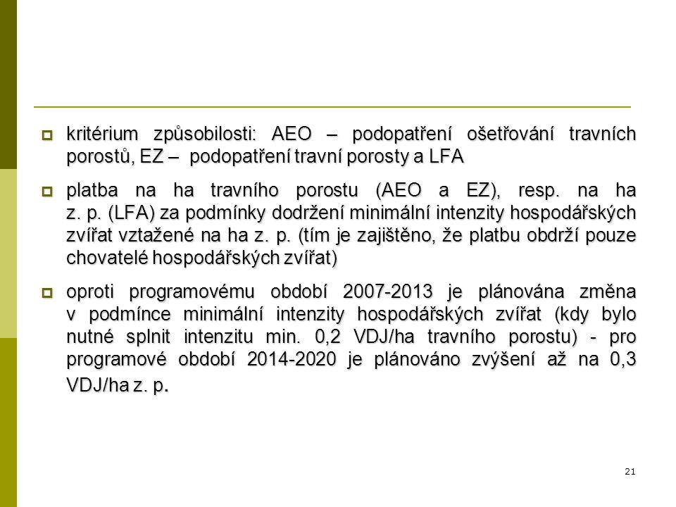 kritérium způsobilosti: AEO – podopatření ošetřování travních porostů, EZ – podopatření travní porosty a LFA