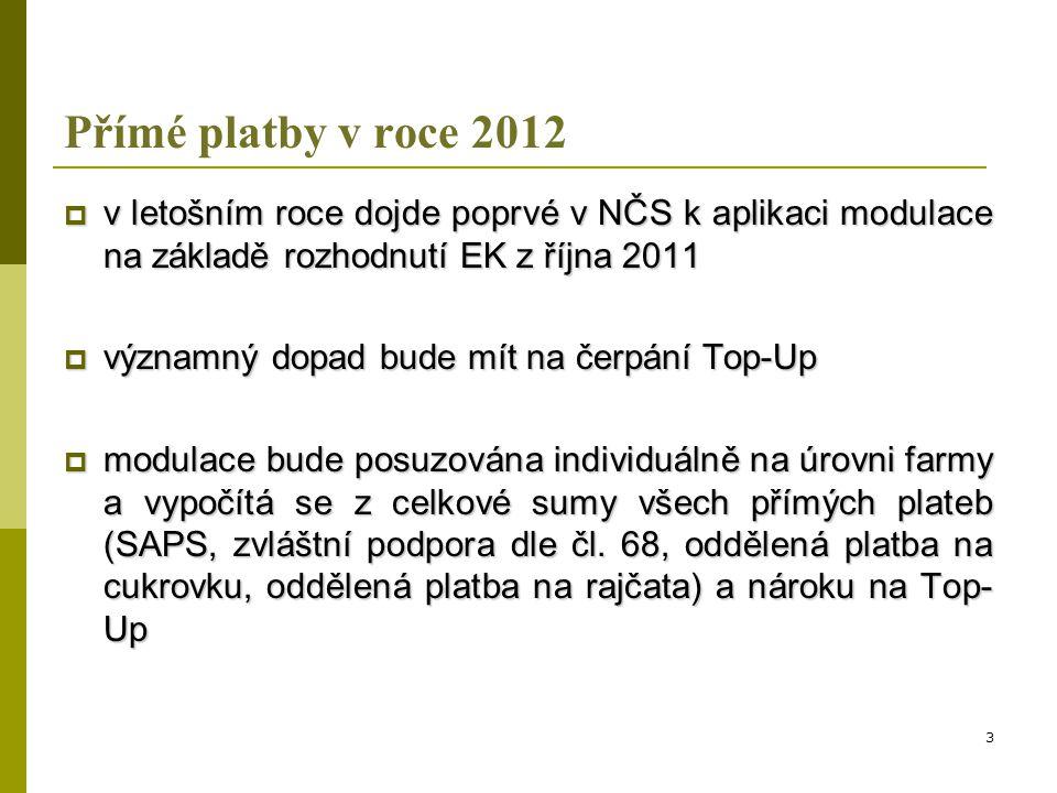 Přímé platby v roce 2012 v letošním roce dojde poprvé v NČS k aplikaci modulace na základě rozhodnutí EK z října 2011.
