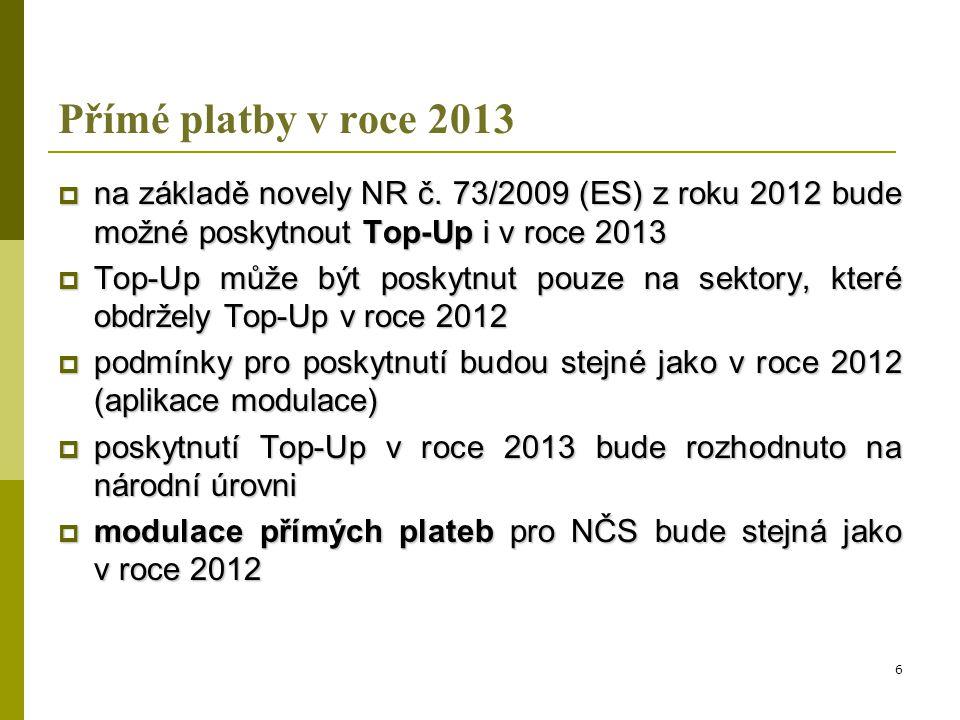 Přímé platby v roce 2013 na základě novely NR č. 73/2009 (ES) z roku 2012 bude možné poskytnout Top-Up i v roce 2013.