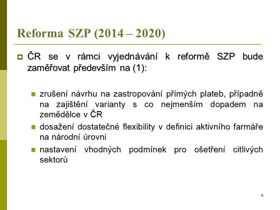 Reforma SZP (2014 – 2020) ČR se v rámci vyjednávání k reformě SZP bude zaměřovat především na (1):