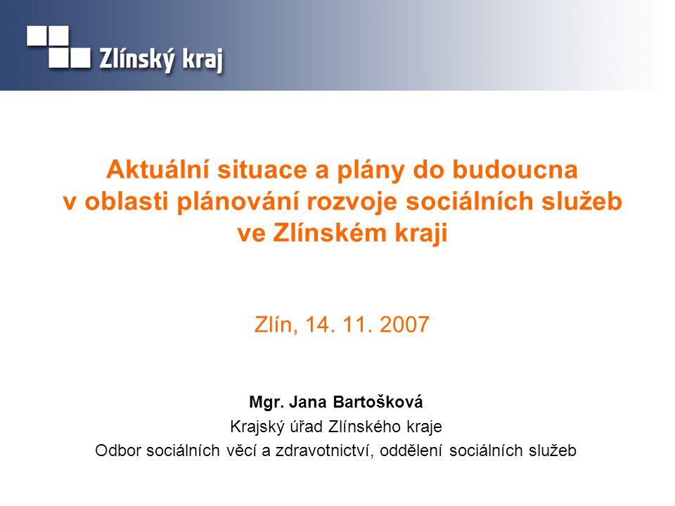 Aktuální situace a plány do budoucna v oblasti plánování rozvoje sociálních služeb ve Zlínském kraji Zlín, 14. 11. 2007