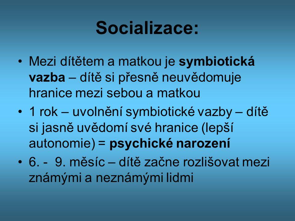 Socializace: Mezi dítětem a matkou je symbiotická vazba – dítě si přesně neuvědomuje hranice mezi sebou a matkou.