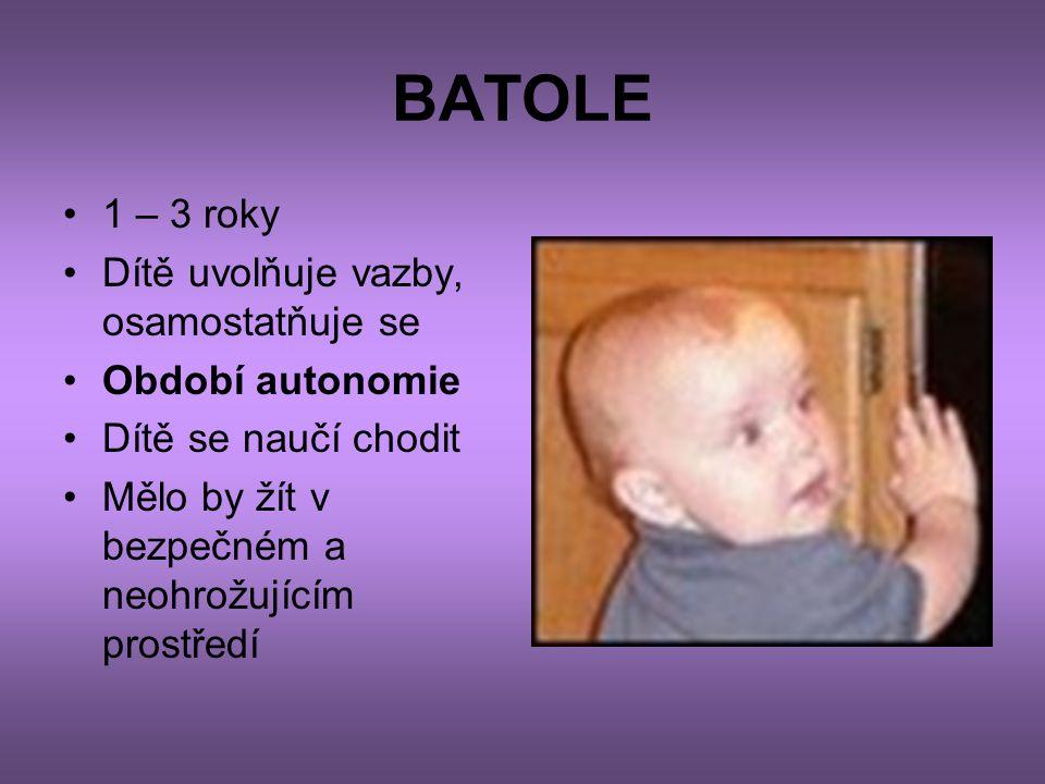 BATOLE 1 – 3 roky Dítě uvolňuje vazby, osamostatňuje se