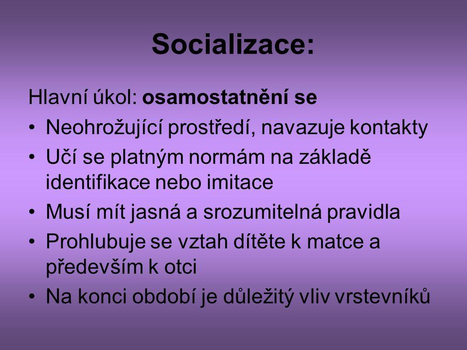Socializace: Hlavní úkol: osamostatnění se