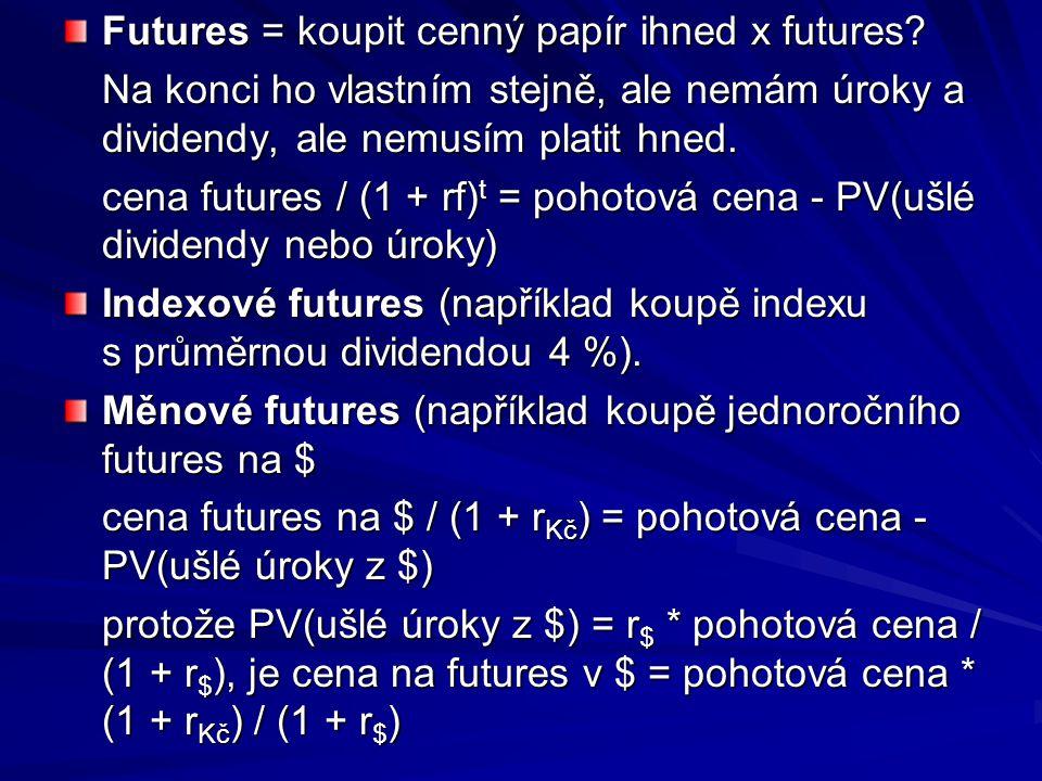 Futures = koupit cenný papír ihned x futures