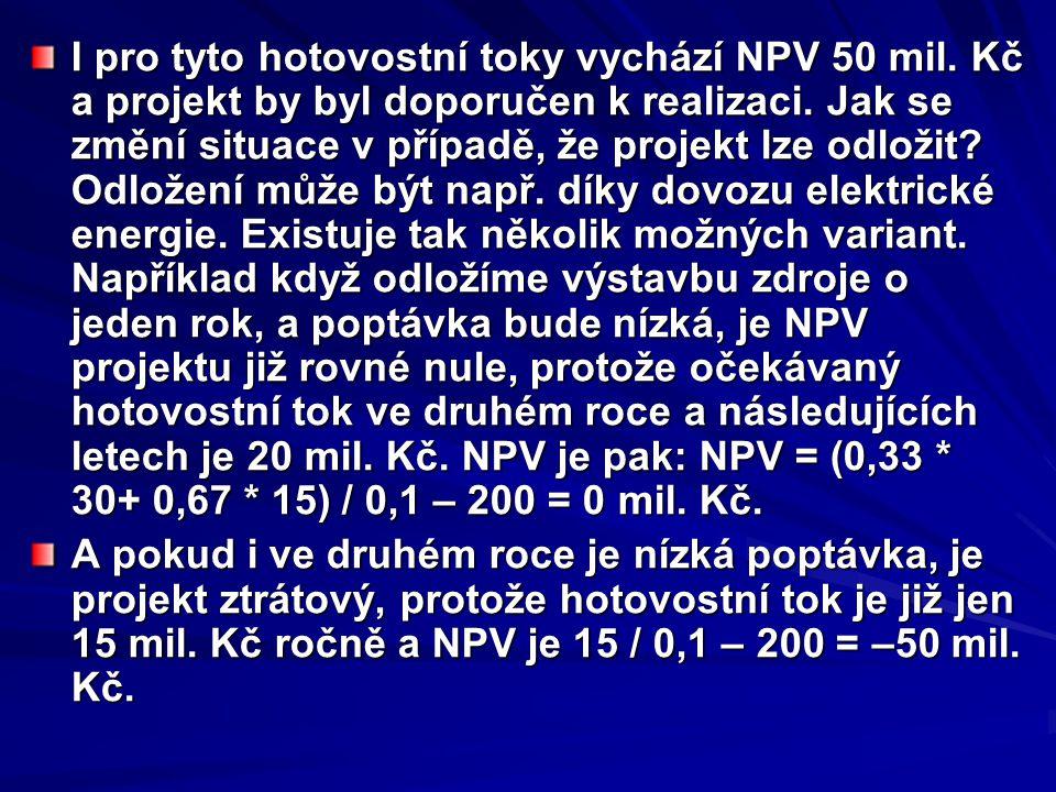 I pro tyto hotovostní toky vychází NPV 50 mil