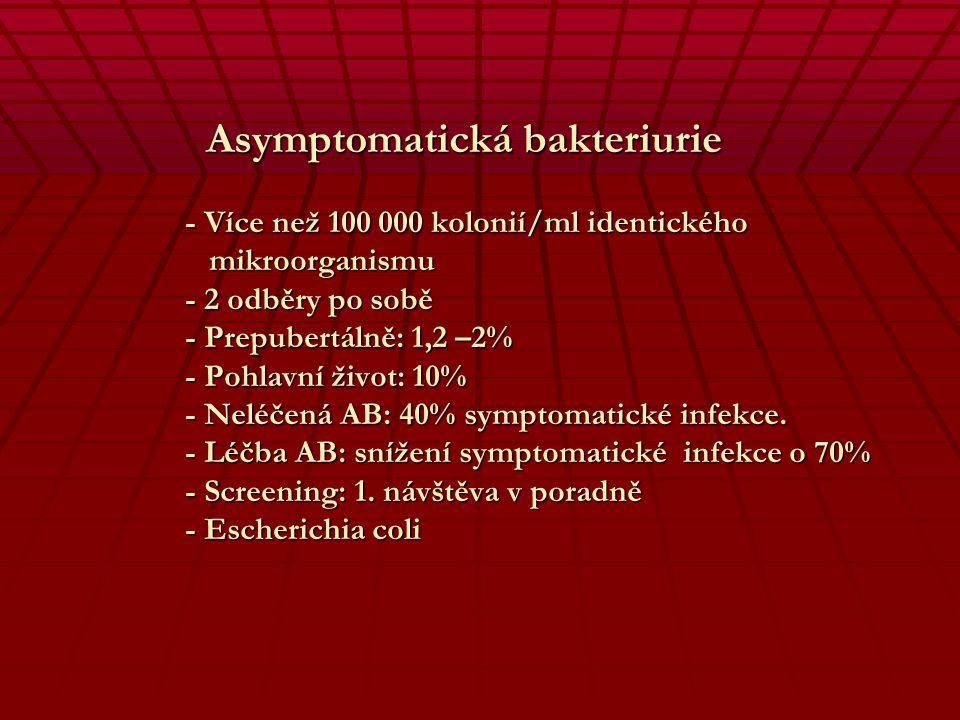 Asymptomatická bakteriurie. - Více než 100 000 kolonií/ml identického