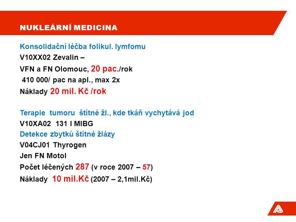 Nukleární medicina Konsolidační léčba folikul. lymfomu. V10XX02 Zevalin – VFN a FN Olomouc, 20 pac./rok.
