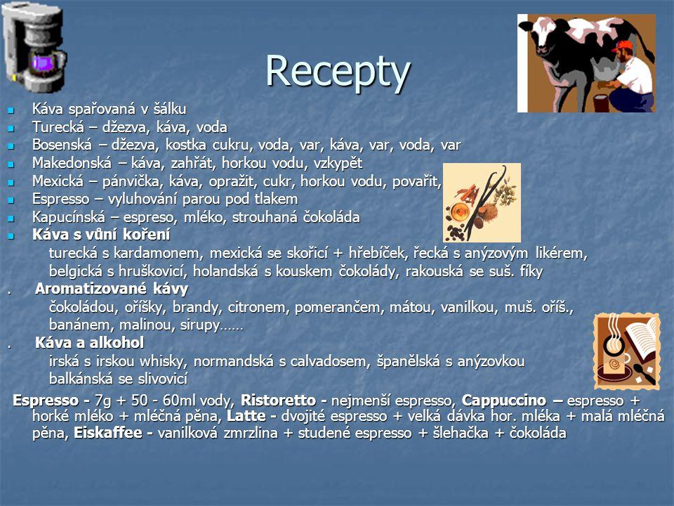 Recepty Káva spařovaná v šálku. Turecká – džezva, káva, voda. Bosenská – džezva, kostka cukru, voda, var, káva, var, voda, var.