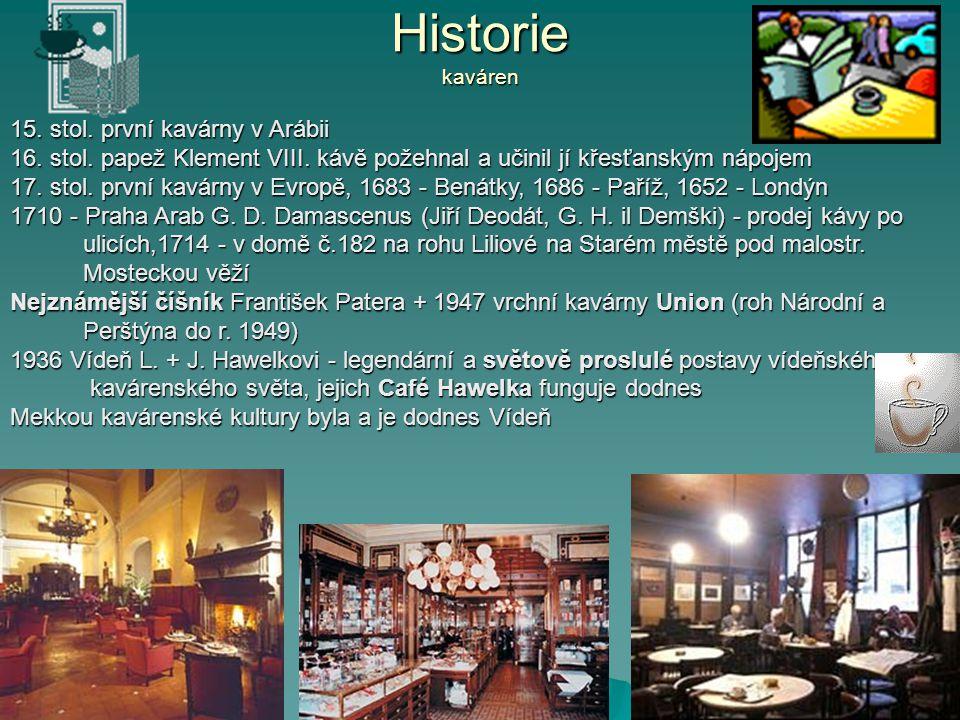 Historie kaváren 15. stol. první kavárny v Arábii