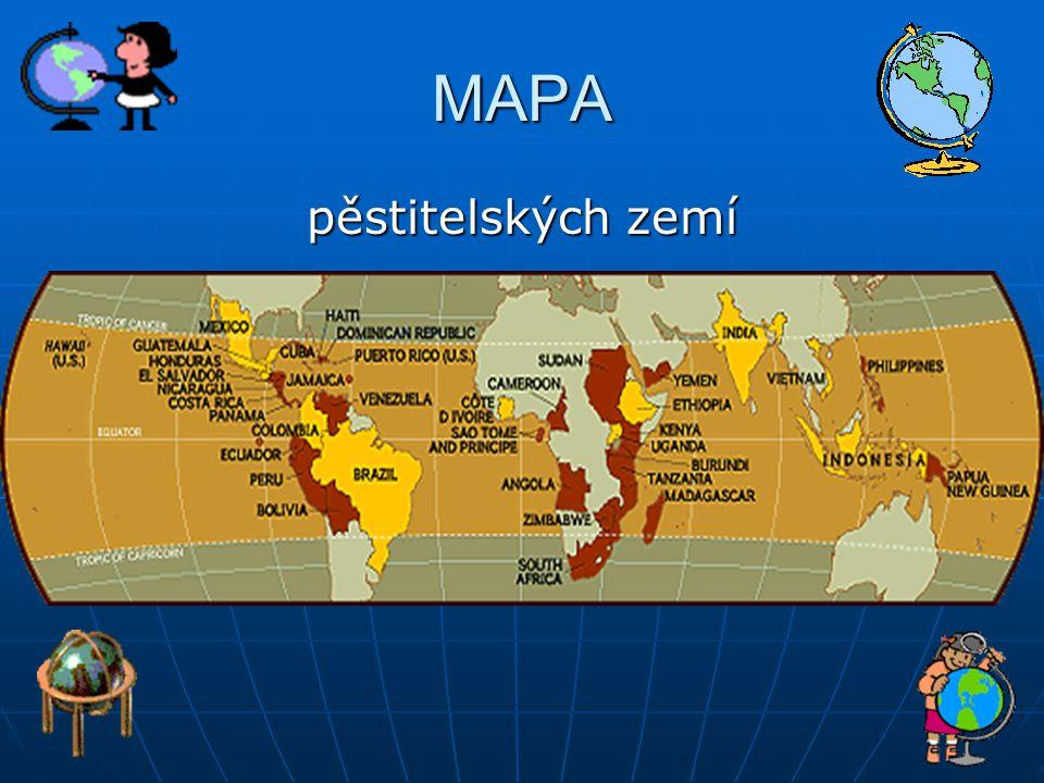 MAPA pěstitelských zemí