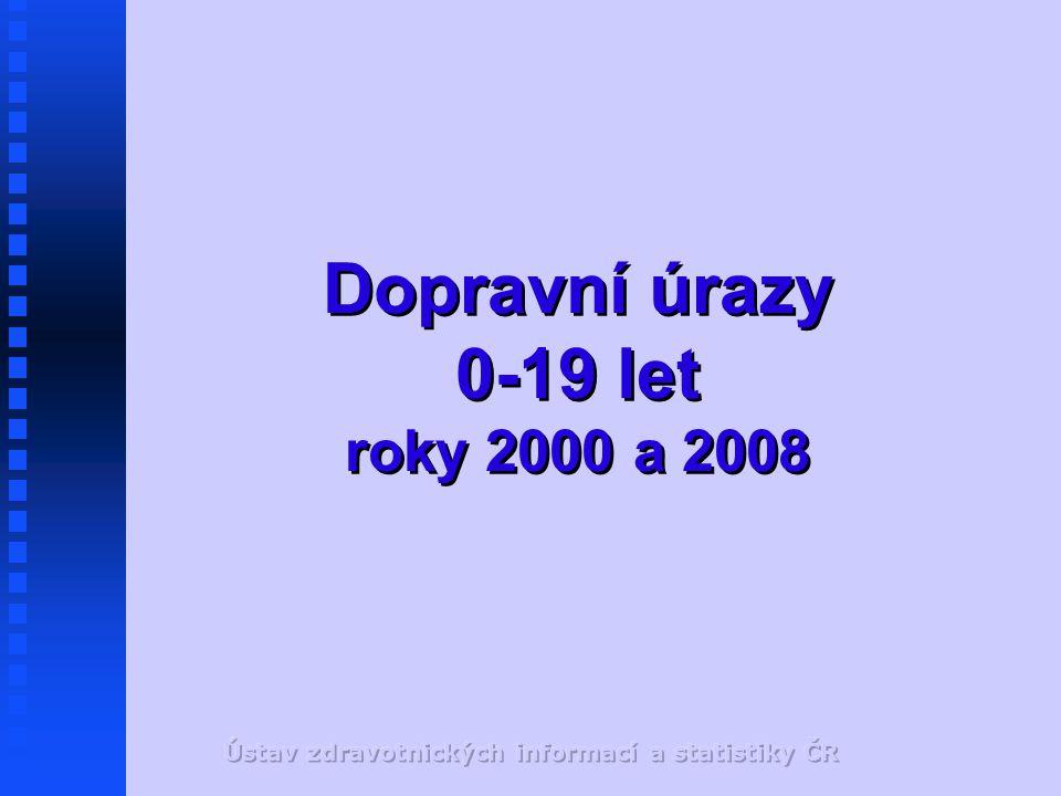 Dopravní úrazy 0-19 let roky 2000 a 2008