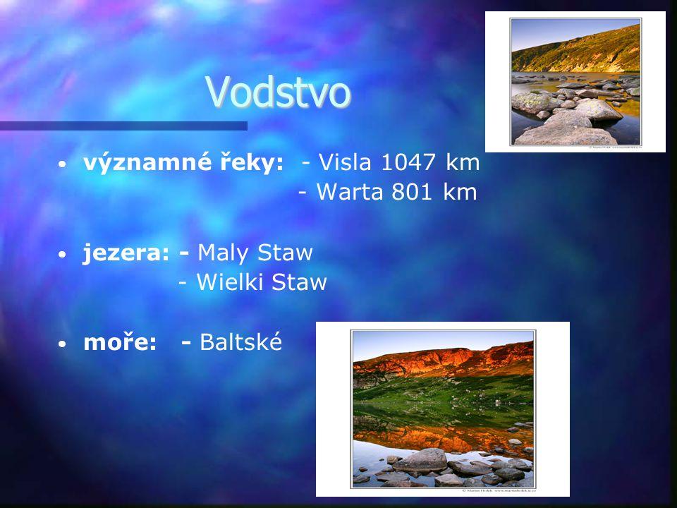Vodstvo významné řeky: - Visla 1047 km - Warta 801 km