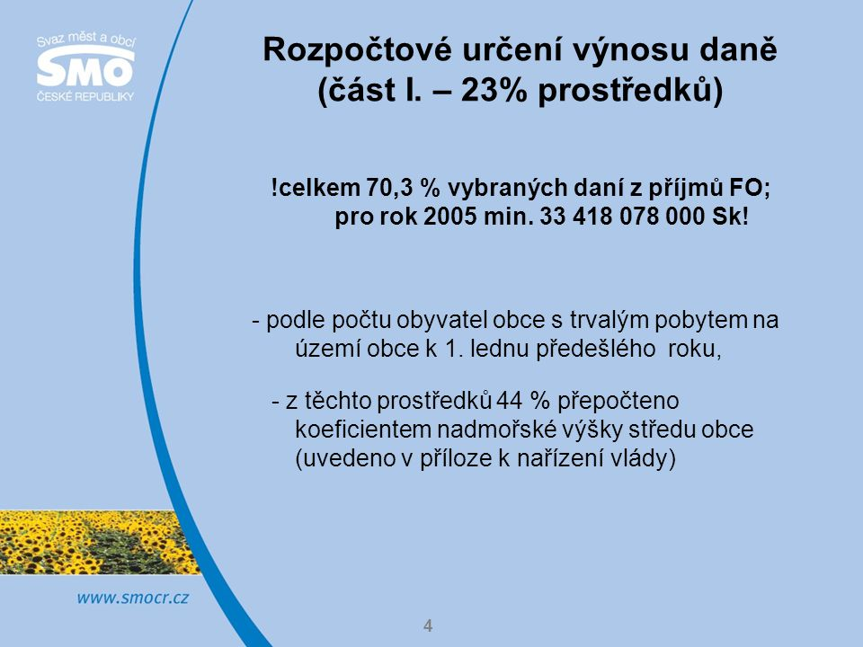 Rozpočtové určení výnosu daně (část I. – 23% prostředků)