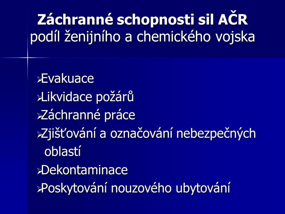 Záchranné schopnosti sil AČR podíl ženijního a chemického vojska