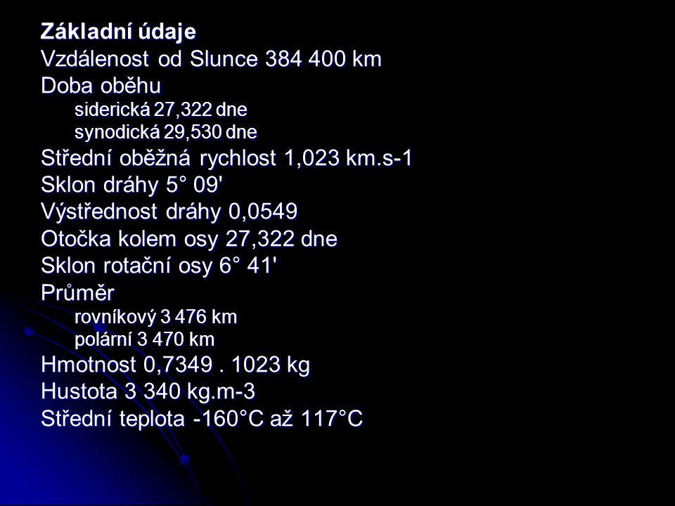 Vzdálenost od Slunce 384 400 km Doba oběhu