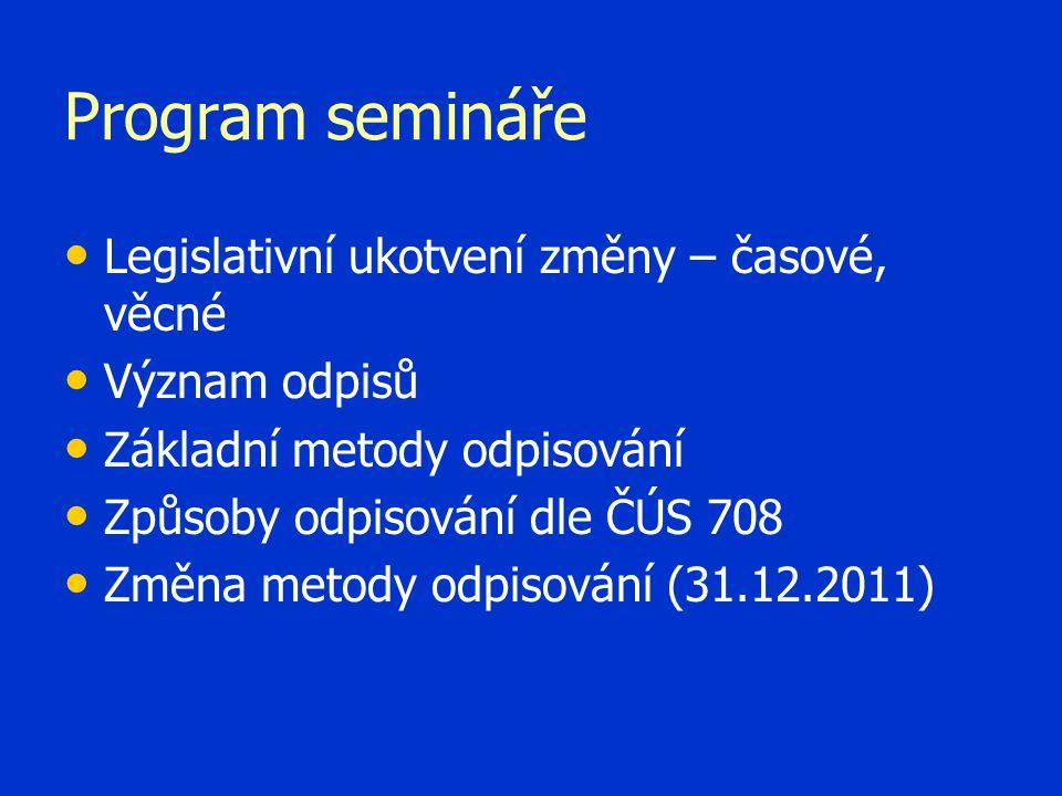 Program semináře Legislativní ukotvení změny – časové, věcné