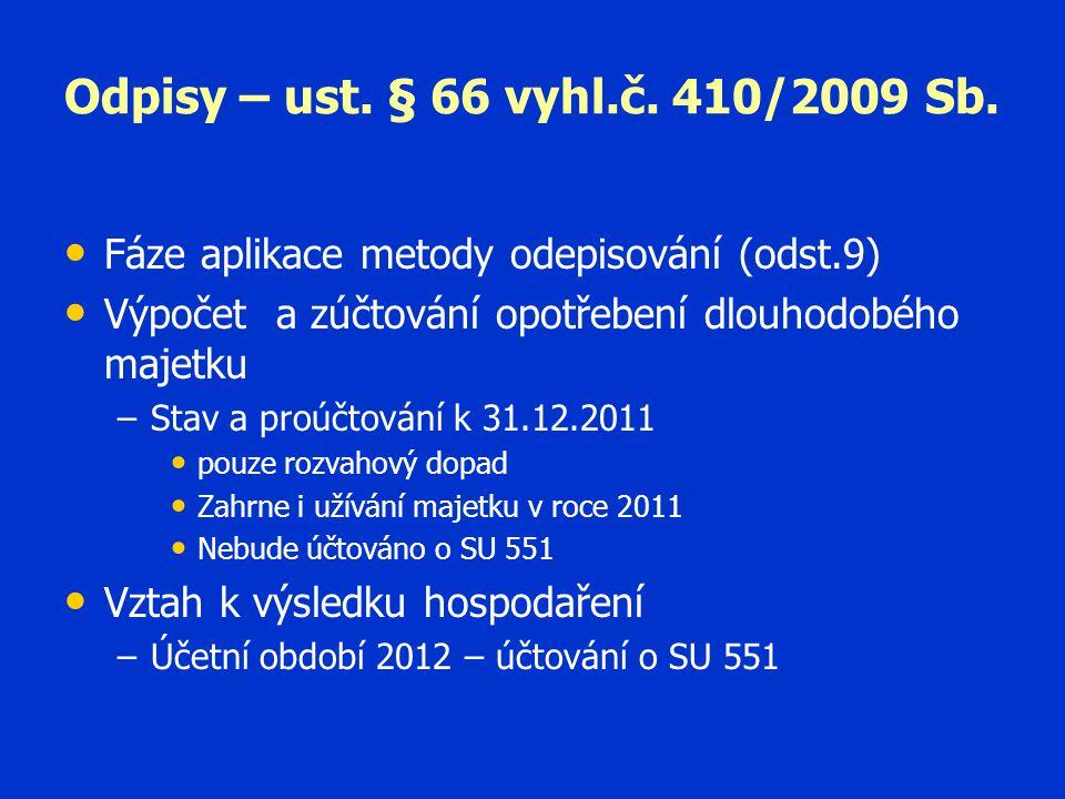 Odpisy – ust. § 66 vyhl.č. 410/2009 Sb. Fáze aplikace metody odepisování (odst.9) Výpočet a zúčtování opotřebení dlouhodobého majetku.