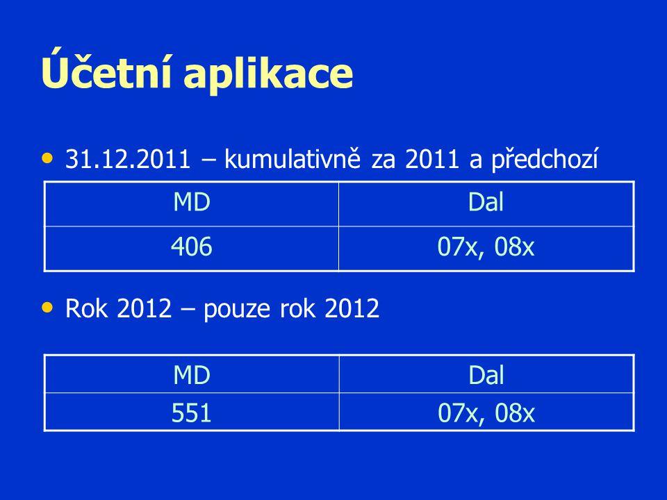 Účetní aplikace 31.12.2011 – kumulativně za 2011 a předchozí