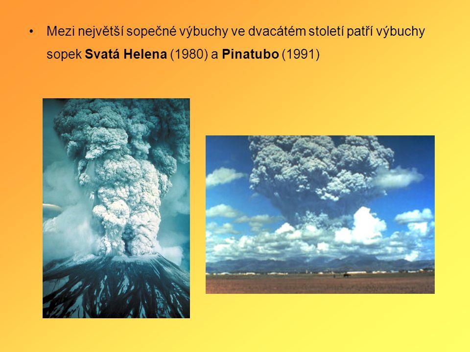 Mezi největší sopečné výbuchy ve dvacátém století patří výbuchy sopek Svatá Helena (1980) a Pinatubo (1991)
