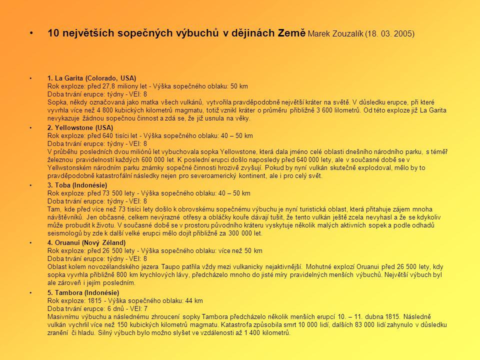 10 největších sopečných výbuchů v dějinách Země Marek Zouzalík (18. 03
