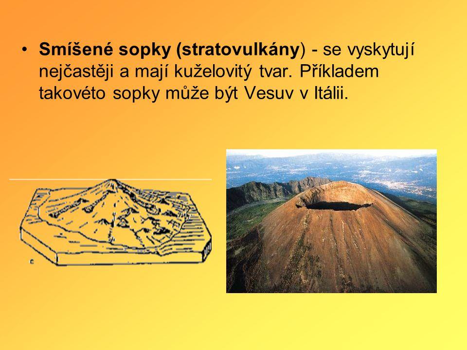 Smíšené sopky (stratovulkány) - se vyskytují nejčastěji a mají kuželovitý tvar.