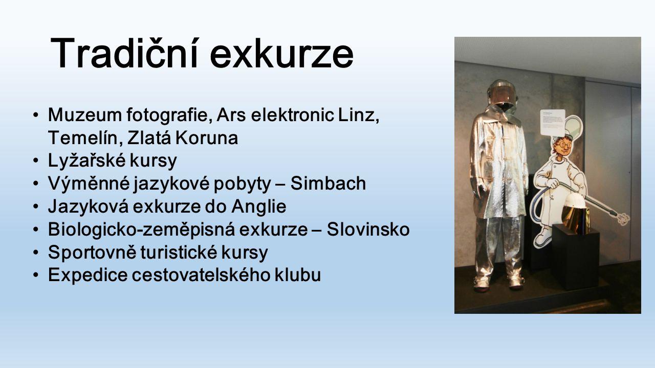 Tradiční exkurze Muzeum fotografie, Ars elektronic Linz, Temelín, Zlatá Koruna. Lyžařské kursy. Výměnné jazykové pobyty – Simbach.