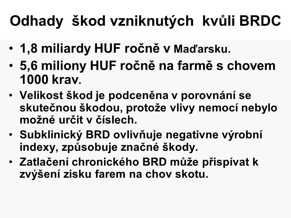 Odhady škod vzniknutých kvůli BRDC