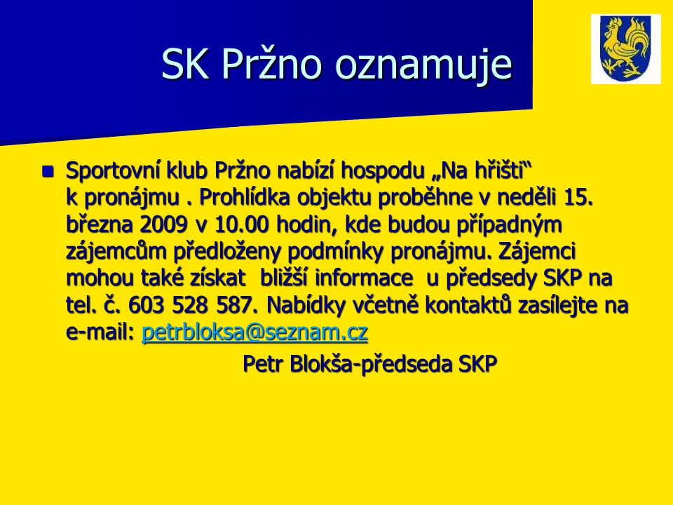 SK Pržno oznamuje