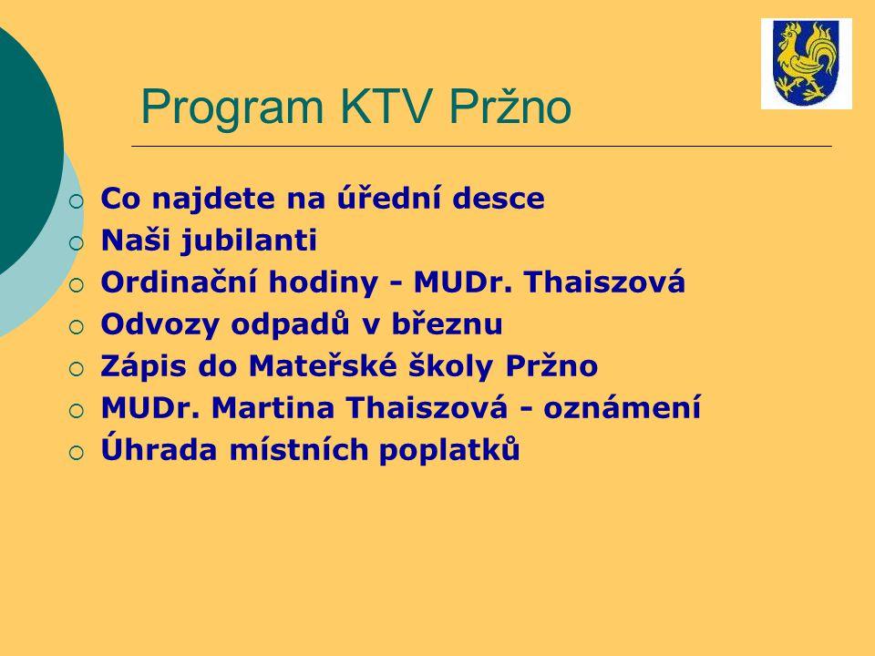 Program KTV Pržno Co najdete na úřední desce Naši jubilanti