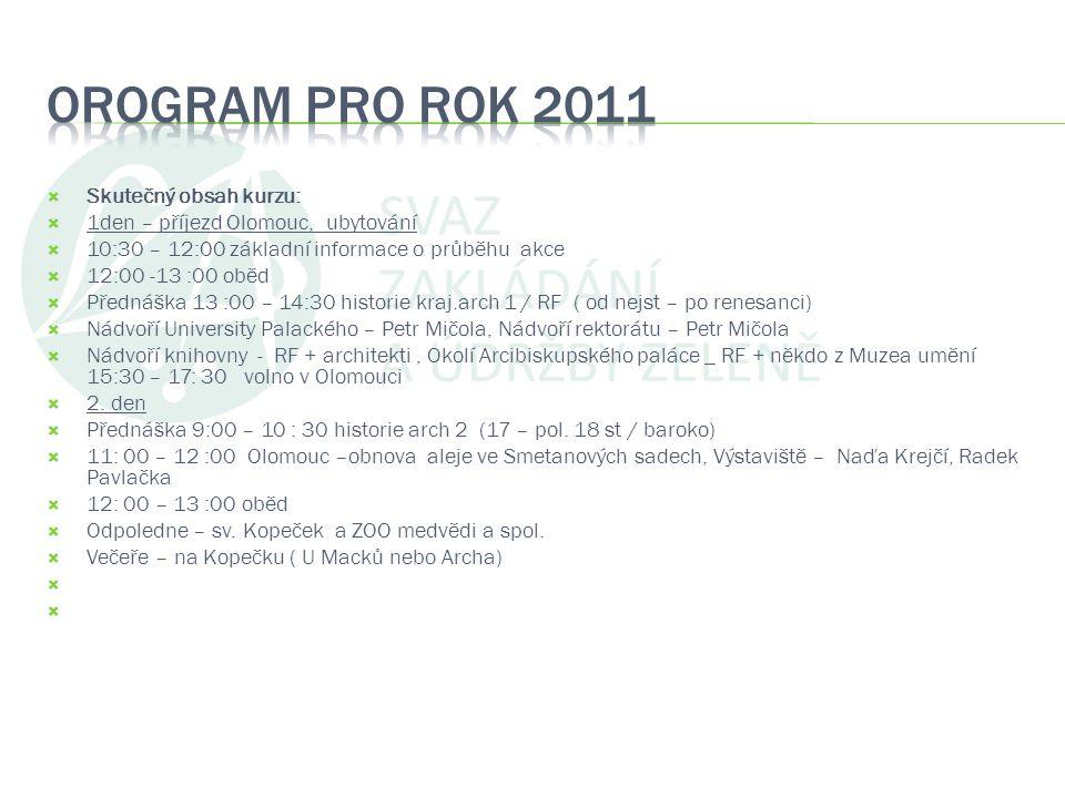OROGRAM PRO ROK 2011 Skutečný obsah kurzu: