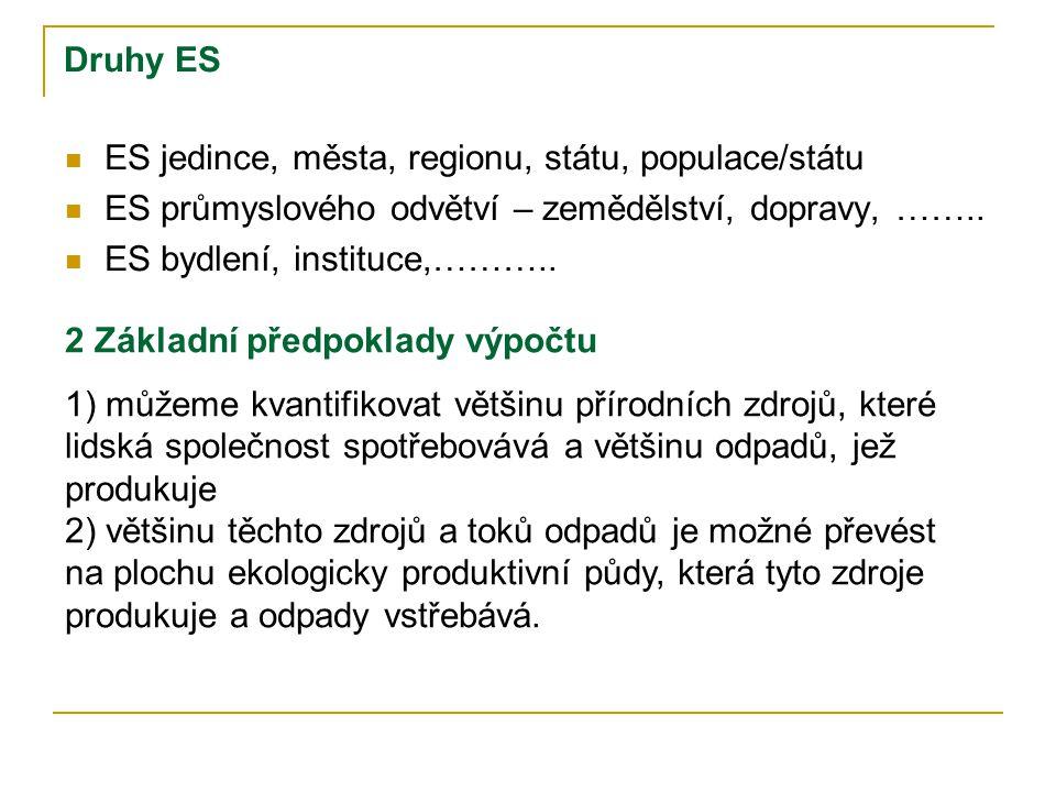 Druhy ES ES jedince, města, regionu, státu, populace/státu. ES průmyslového odvětví – zemědělství, dopravy, ……..