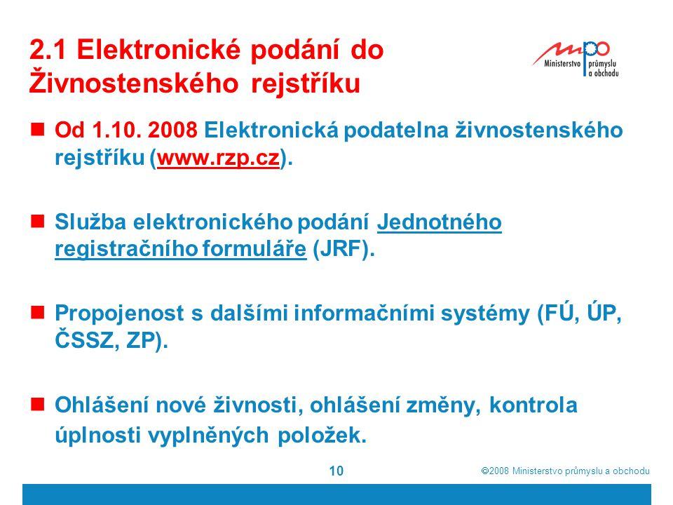 2.1 Elektronické podání do Živnostenského rejstříku