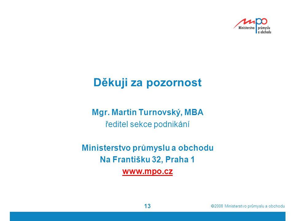 Mgr. Martin Turnovský, MBA Ministerstvo průmyslu a obchodu