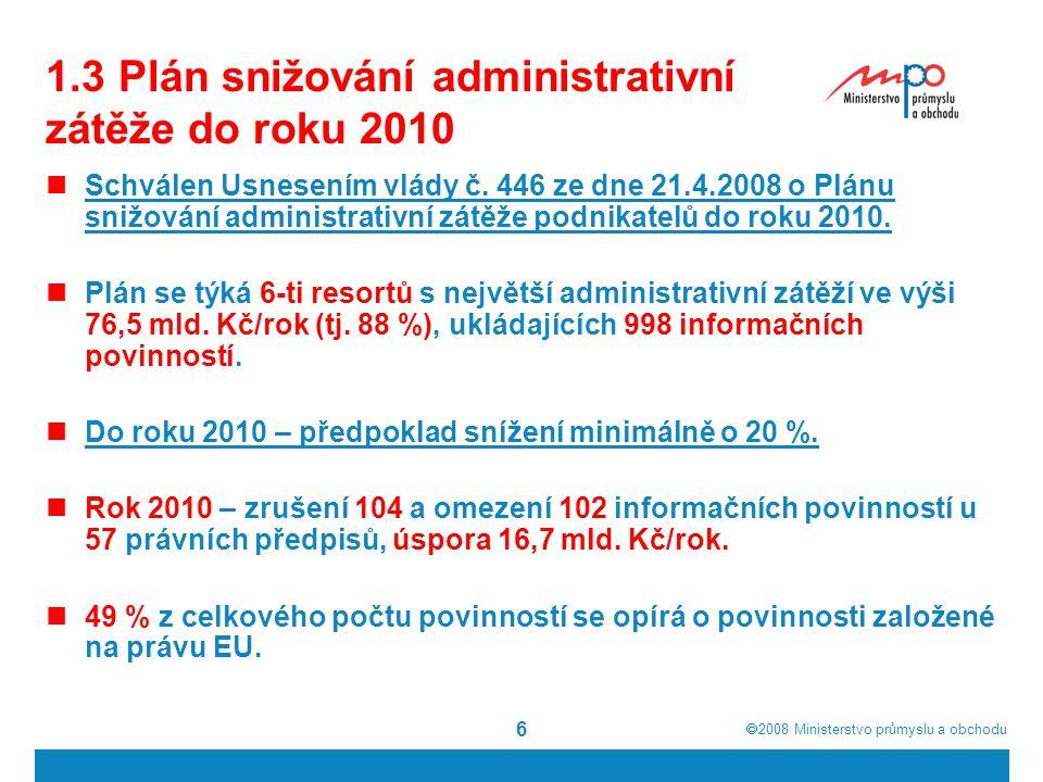 1.3 Plán snižování administrativní zátěže do roku 2010