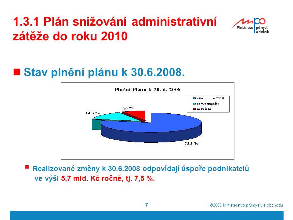 1.3.1 Plán snižování administrativní zátěže do roku 2010