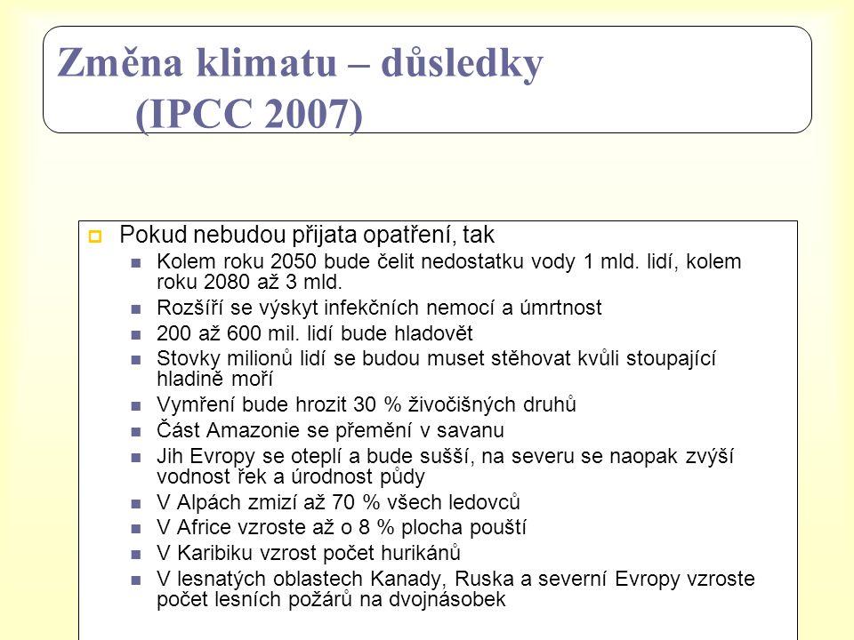 Změna klimatu – důsledky (IPCC 2007)