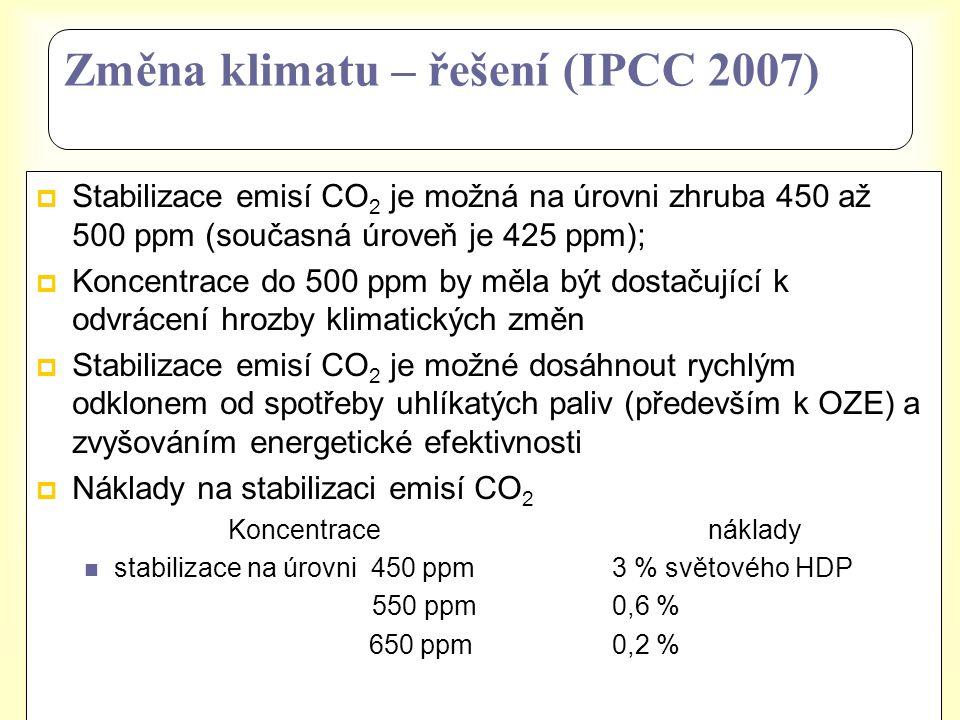 Změna klimatu – řešení (IPCC 2007)