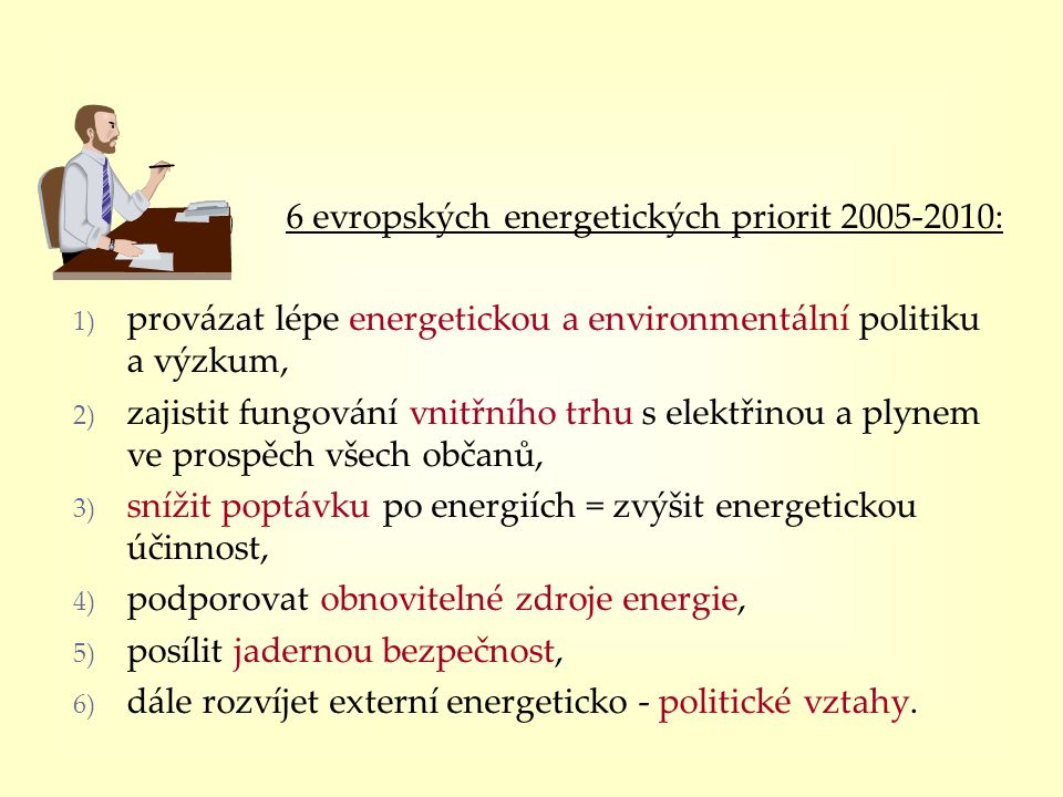 6 evropských energetických priorit 2005-2010: