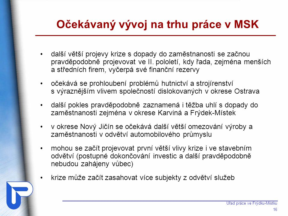 Očekávaný vývoj na trhu práce v okrese Frýdek-Místek