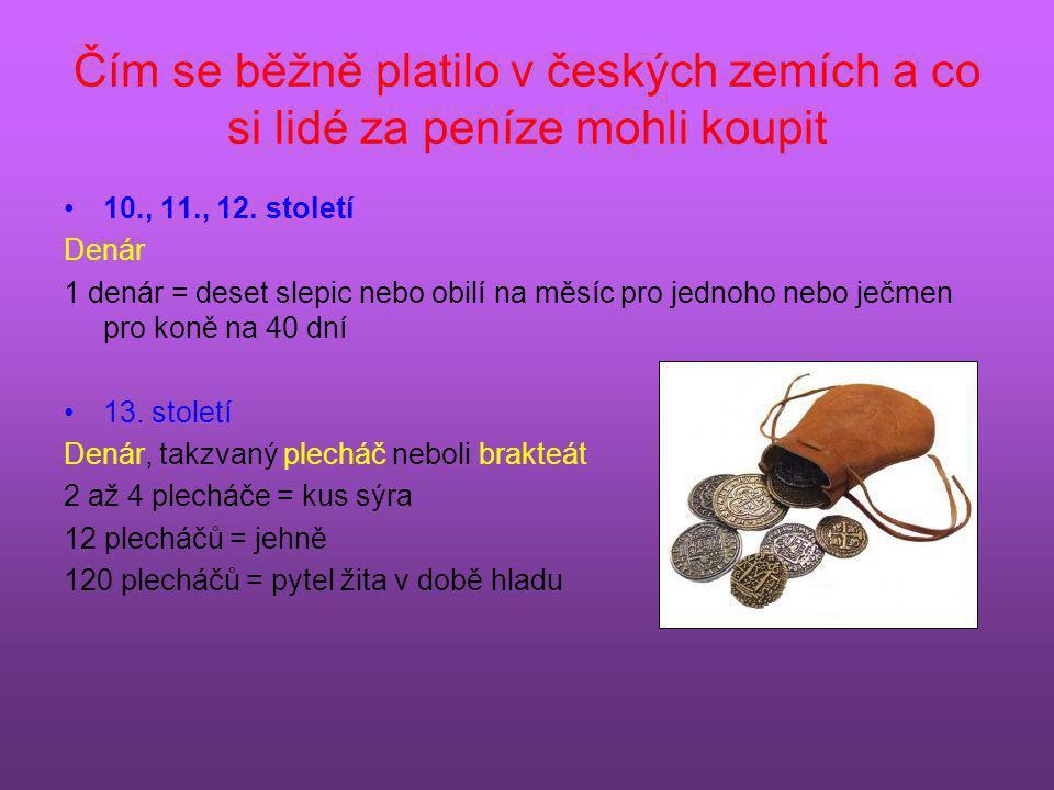 Čím se běžně platilo v českých zemích a co si lidé za peníze mohli koupit