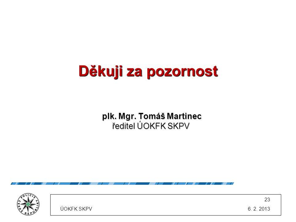 Děkuji za pozornost ředitel ÚOKFK SKPV plk. Mgr. Tomáš Martinec