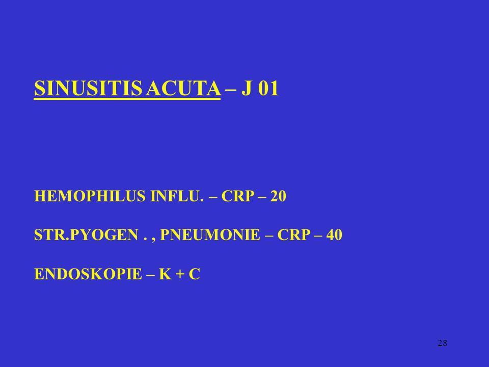 SINUSITIS ACUTA – J 01 HEMOPHILUS INFLU. – CRP – 20